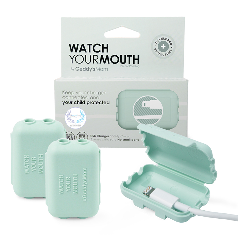 dusty aqua Watch Your Mouth safety cover with package